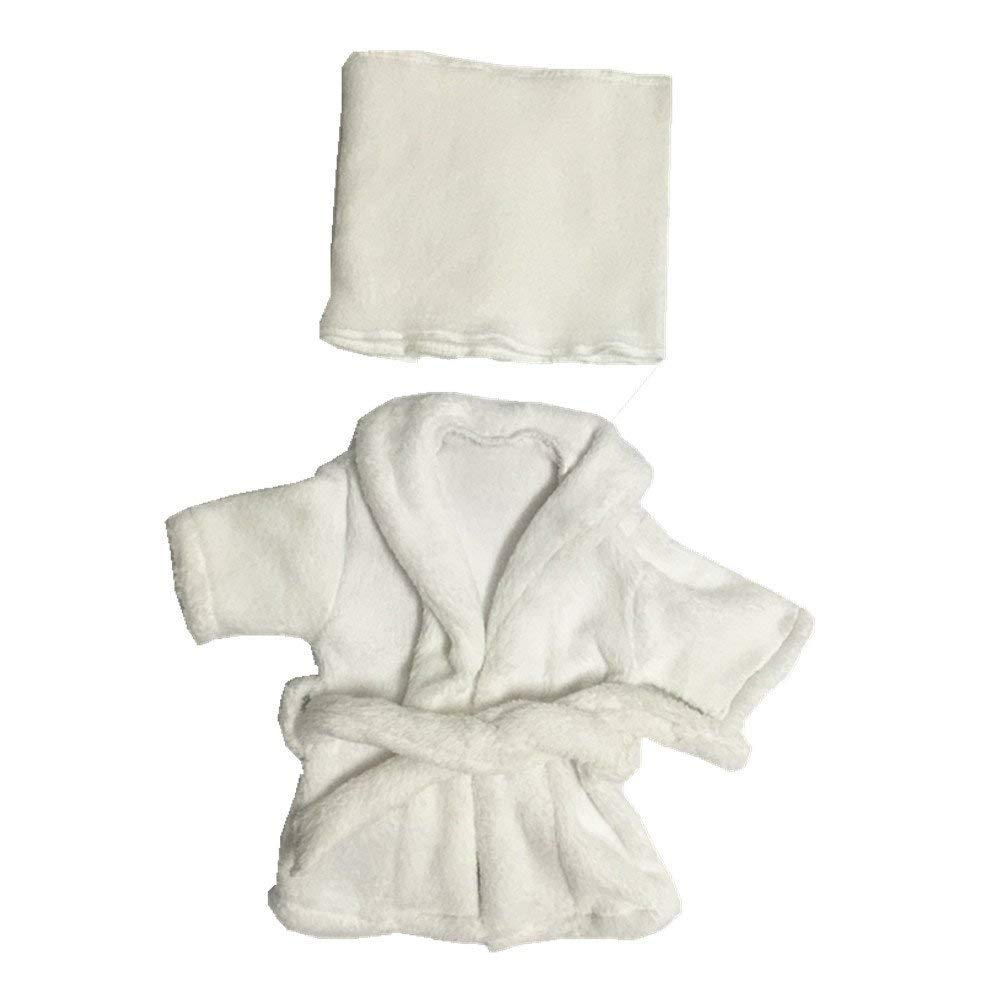 Dvotinst Newborn Photography Props, Soft Photo Prop Bathrobes Outfits for Baby Shooting, 3pcs/Set Costume Clothes for Studio Shoots (White, 0-1 Month)