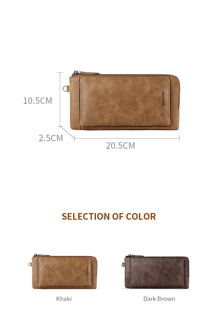 DIDE Custom High Quality Genuine Leather Mens Long Wallet Phone Holder With Card Holder