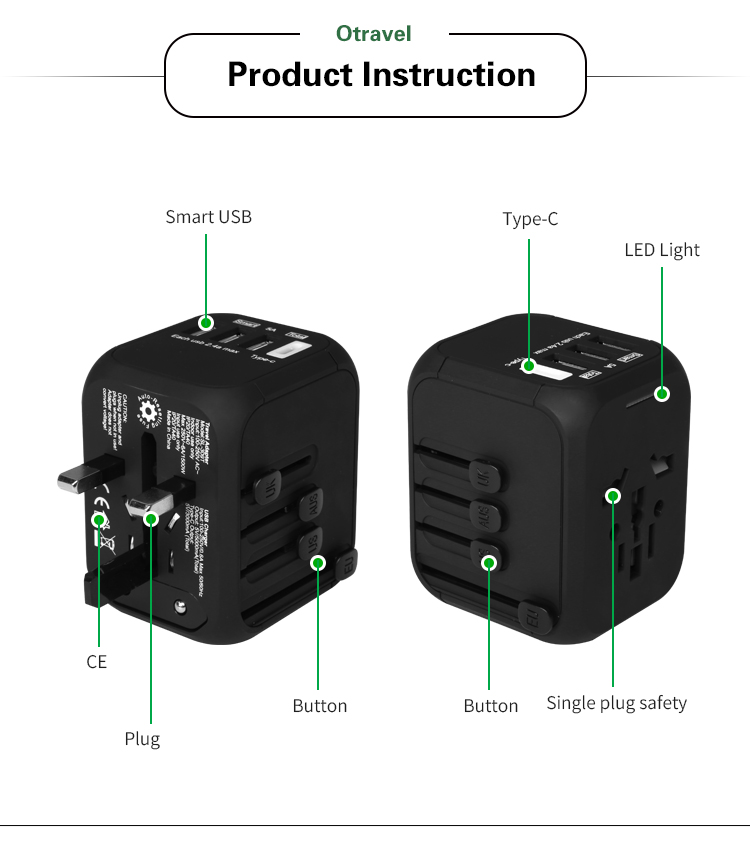 SL-309T  5v 5A 4 usb ports power adapter surge protector charger with smart USB fast charger