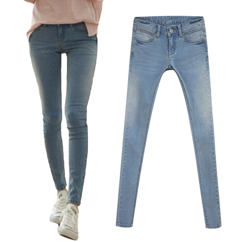 Tonval 2015 Stretch Skinny Jeans For Women Denim Pants Woman Classic Gradient Jeans Ladies Plus Size Pencil Trousers