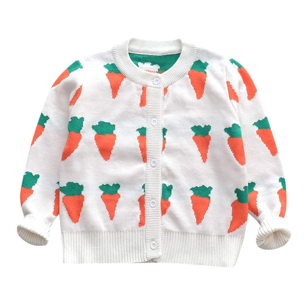 ❤️Mealeaf❤️ Baby Boys and Girls Clothes with Toddler Baby Girl Long Sleeves Carrot Print Knit Cardigan Kid Outwear Clothes (0-12 Months Old, White)