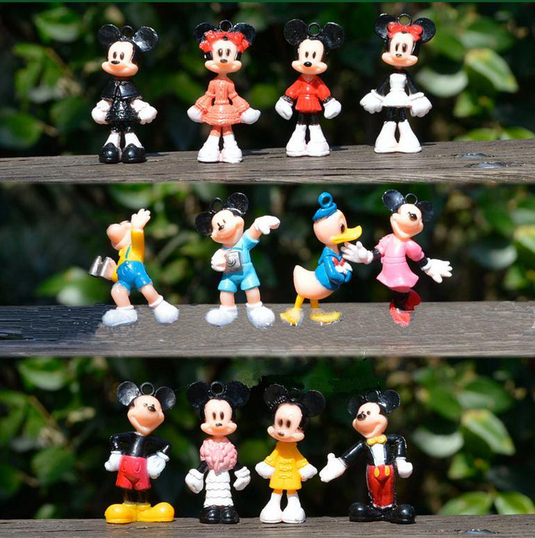 Mini Mickey Mouse Donald Duck Minifigures Minnie Cartoon Minifigure 12pcs set Micro Birthday Cake Decoration Action