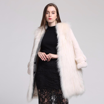 New Design Ladies' Long Sleeve 100% Real White Mink Fur Coat