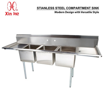 Freestanding Restaurant Kitchen 3 Three Compartment Commercial Stainless  Steel Sink With Two Drainboard