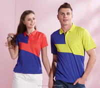 Two-color block design fashion breathable short-sleeved polo shirt