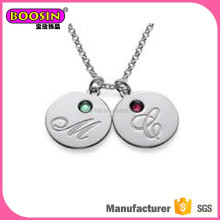 Fashion new design disc initial pendant necklace, disc necklace with initial