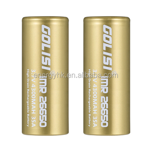 Golisi large capacity 4300mAh 26650 environmental rechargeable lithium battery for glare flashlight