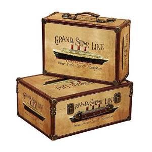 Decorative Storage Bo Handcrafted Wood 7886727 Set