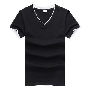 Plain basic v-neck 100% ring spun cotton t shirt