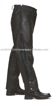 LEDERCHAPS Black White Gay Chaps Pants Leather Pants Black Pantalon Cuir