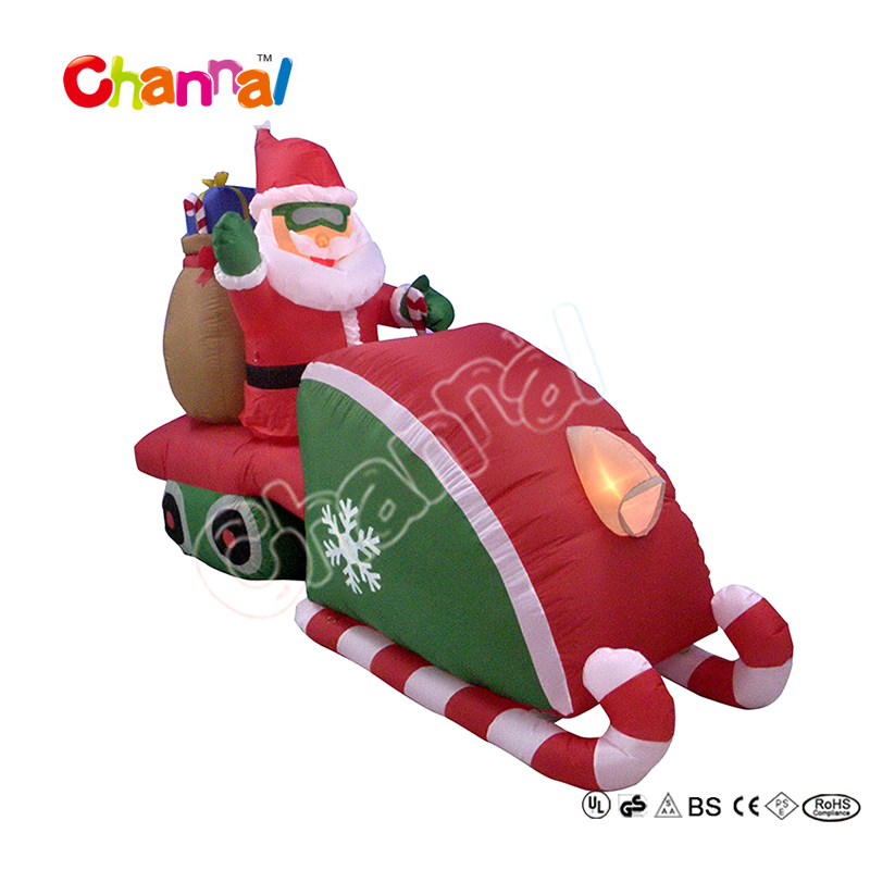 7ftL Lighting inflatable santa on snowmobile vehicle
