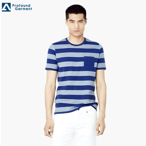 Wholesale High Quality Round Collar Shirt Pocket Men Plain Striped t-shirt