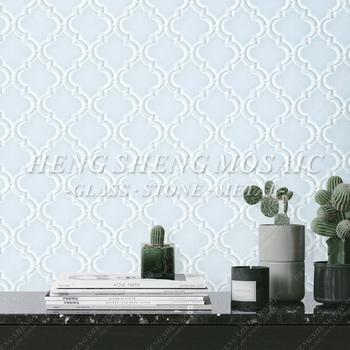 Arabesque Stil Weiß Wasser Jet Laterne Form Glas Mosaik Fliesen Küche  Spritzschutz