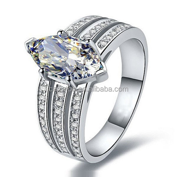 reasonable price luxury jewelry silver AAA marquise zirconia engagement band ring
