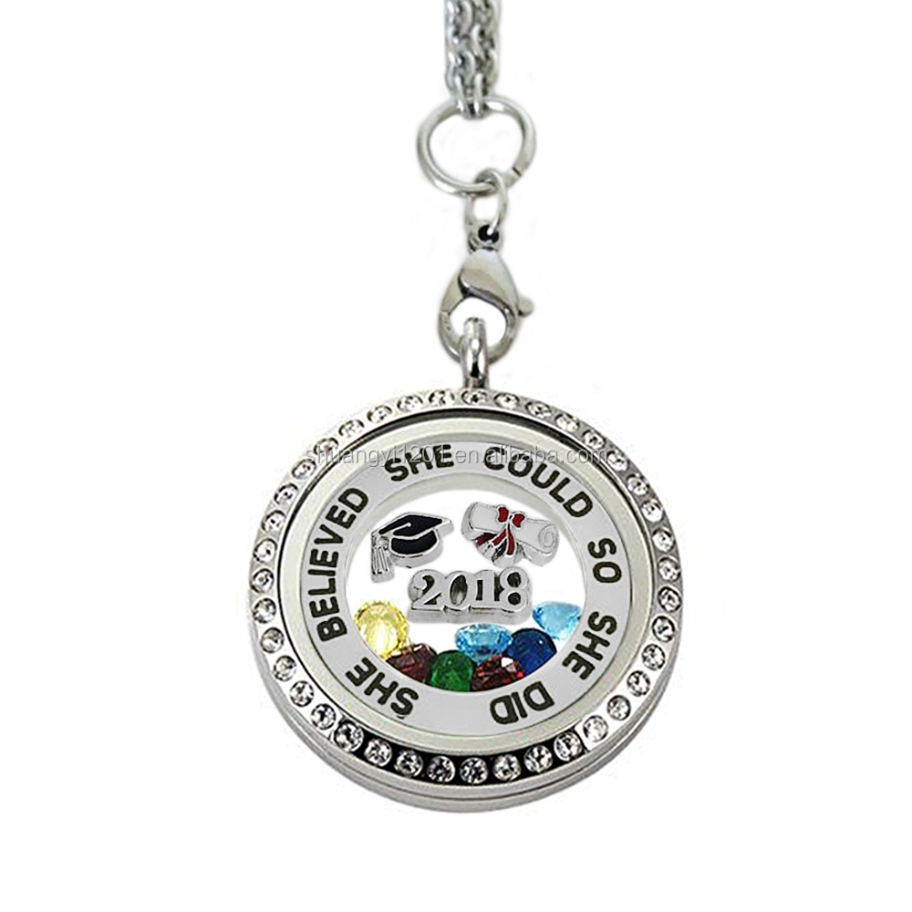 Memory photo Locket 70mm link chain birthstone graduated enamel hat 2018 student graduation present jewelry