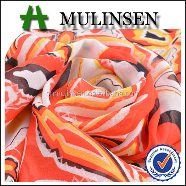 Mulinsen Textile Top Quality Woven Polyester See-though Fabric Chiffon for Dubai