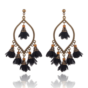 Vintage Ethnic Boho Design Flower Charms Tassels Earring Latest Antique Black Brass Plated Light Weight Fabric Flower Earrings