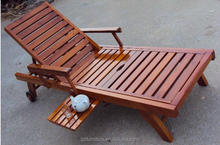 Wheeled Wooden Garden Sun Lounger With Drinks Tray wood Lay Flat Sun Bed