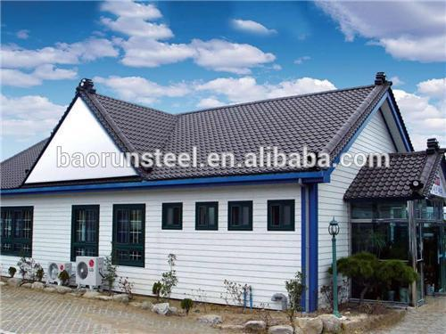 300 square meter two storey steel structure prefabricated residential house with roof platform