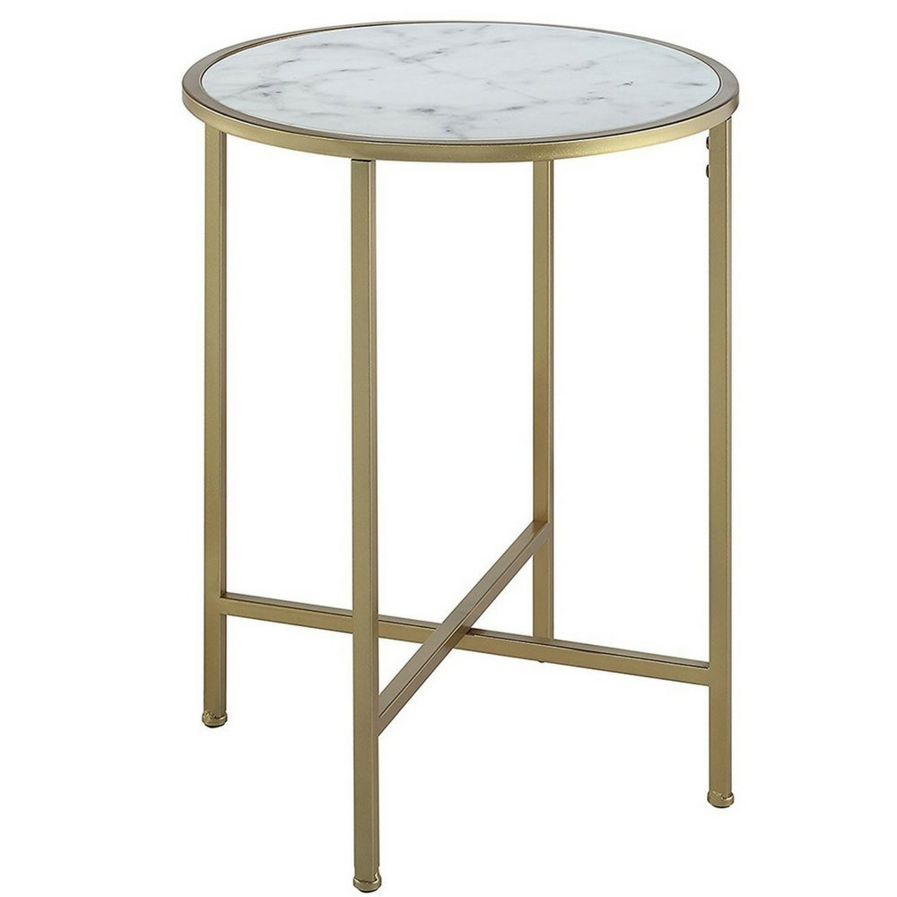 White Marble Top End Table Faux Marble Topped Table Accent Table Gold Metallic Base Sturdy Tabletop Minimal Unique Modern Contemporary Hallway Living Room Entryway Round Side Table & eBook By NAKSHOP