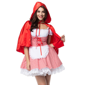 Red lattice Cotton Sexy Costume little red riding hood