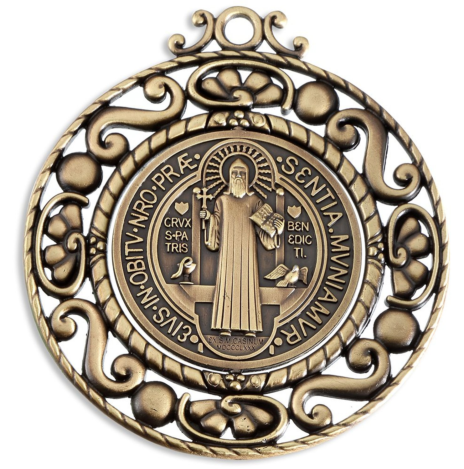 charms medallion benedict st gold medal dp com exorcism jewelry pendant painted amazon enamel catholic