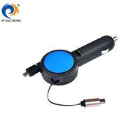 2018 China hot selling dual port electric toy retractable car battery 2 in 1 retractable car charger