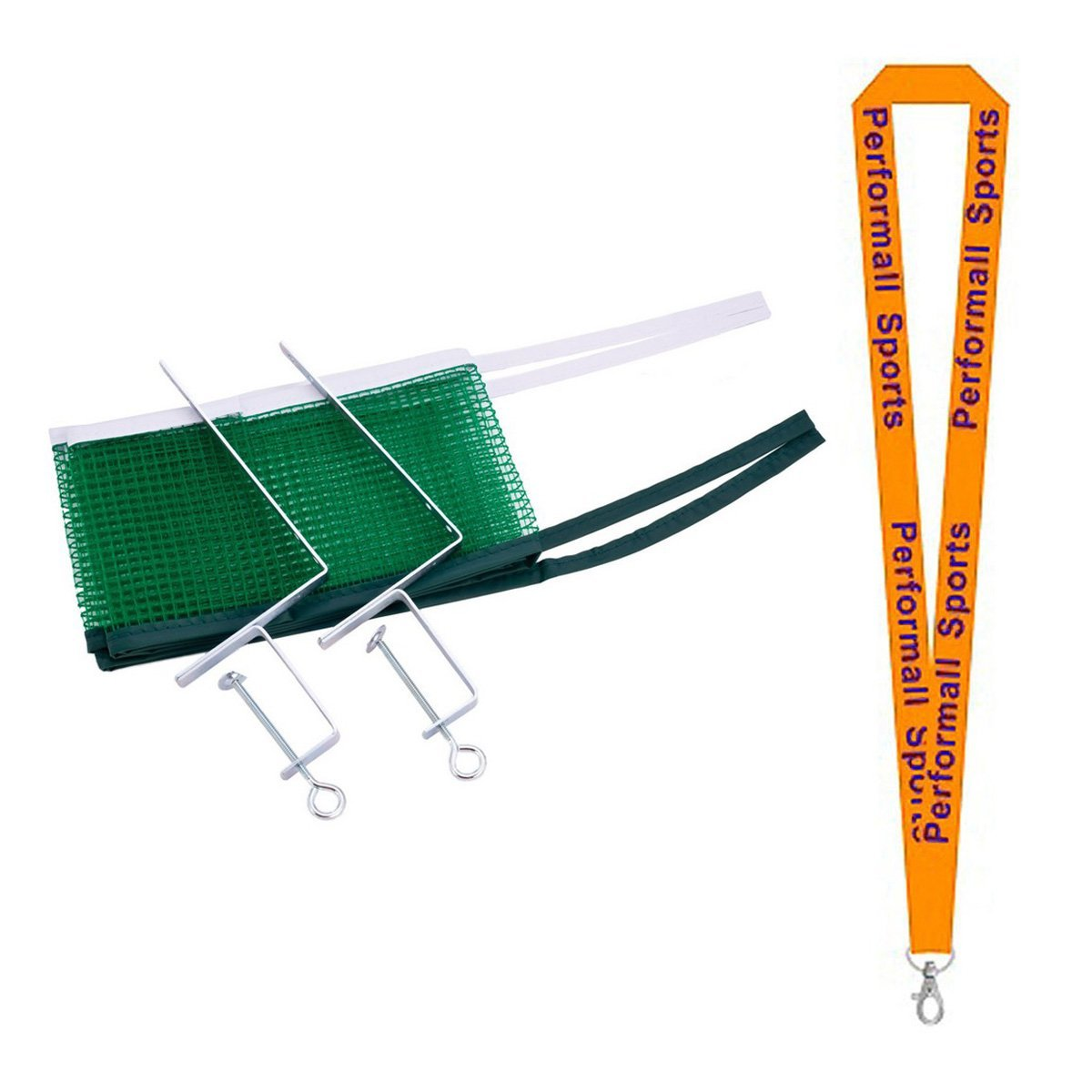 Champion Sports Bundle: Table Tennis Net & Post Set Green with 1 Performall Lanyard PN103-1P