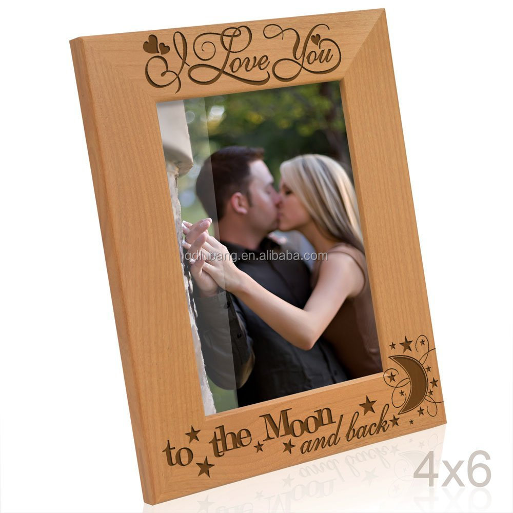 4x6 Vertical Engraved Solid Wood Picture Frame