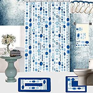 18 Piece High Quality Geometric Designs Banded Shower Curtain Bath Set,1,Bath Rug,1 Contour Rug 1, shower curtain 12 Metal Crystal Roller Ball Shower Hooks 3 Pcs Matching towel set (Jackie Blue)