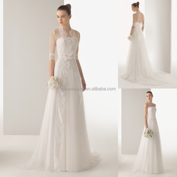 Charming 2015 A-line Wedding Dress With High Neck Half Sleeve Lace ...