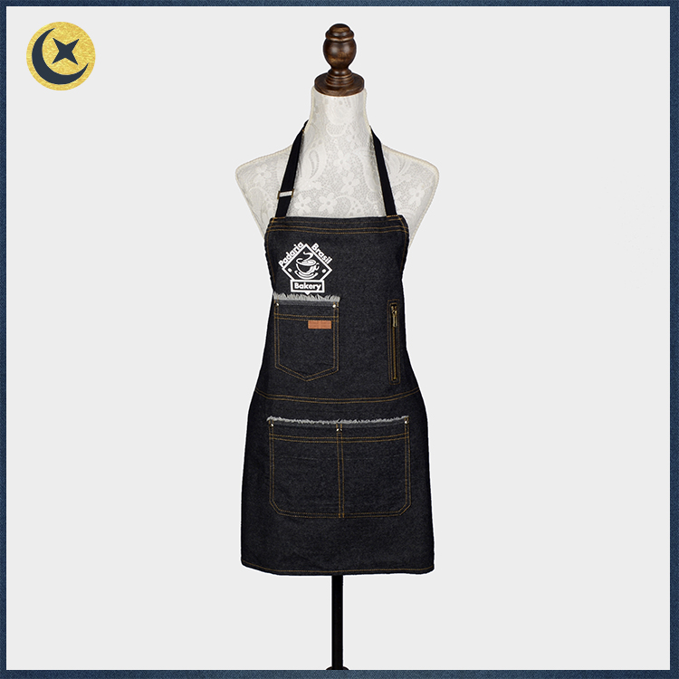 Hot sale fashionable customized logo printed denim apron for work