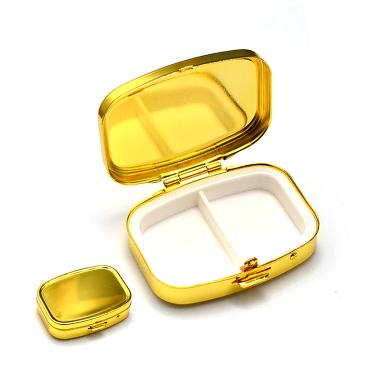 Christmas gif homeware brass copper child resistant pill box 2 compartments food frade sublimation mirror metal pill case