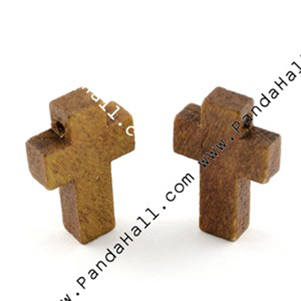 Small Wooden Crosses Pendants (WOOD-S029-LF)