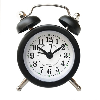 New Style Creative Double Bells Decorative Art Glass Metal Desk Clock