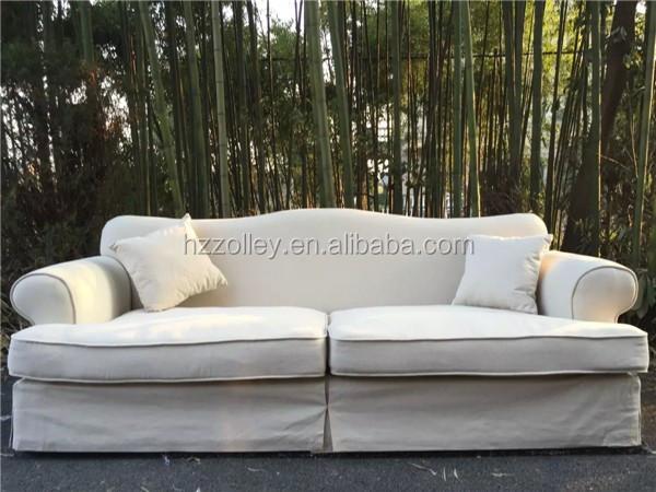 European White Fabric Cover Sofa, Provincial Living Room Corner Sofa  Wholesale