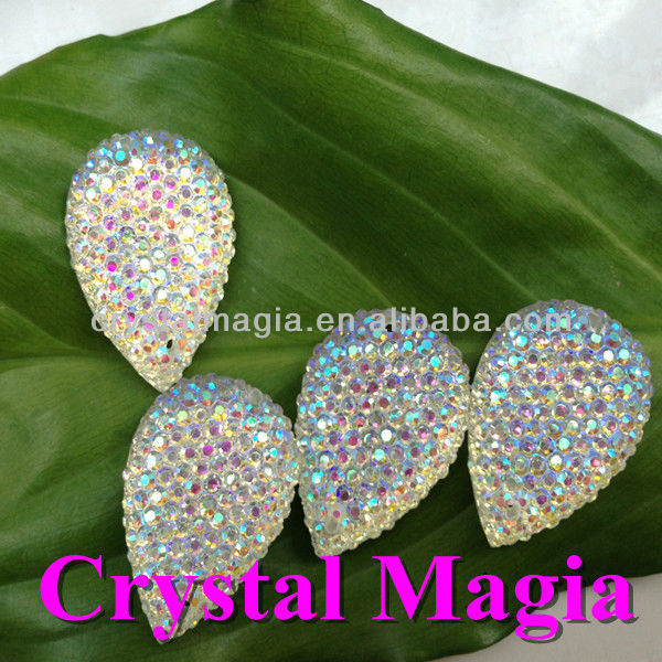 crystal ab drop shape sew on resin stone with dots