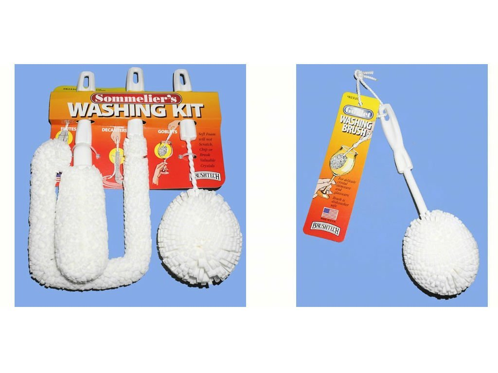 Brushtech BTB233C Sommelier's Washing Kit and Brushtech BTB232C Goblet Washing Brush bundle