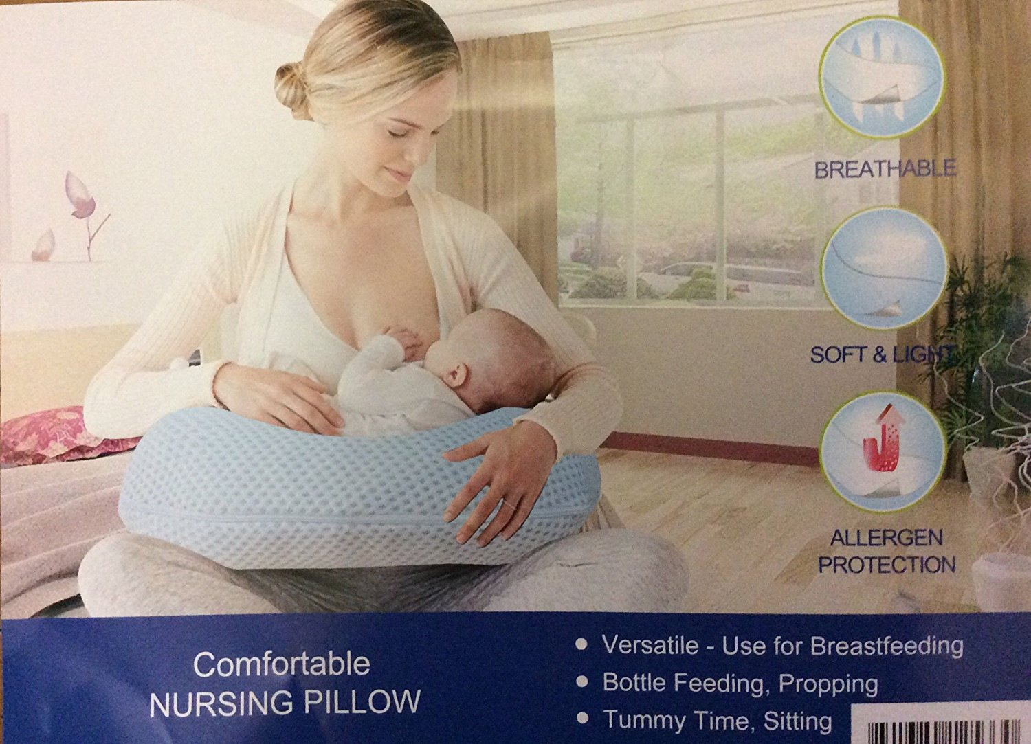NEW COMFORTABLE NURSERY PILLOW FOR MON AND BABY SOFT AND LIGTH,ALLERGEN PROTECTED,ESPECIALLY FOR BREASTFEEDING,BOTTLE FEEDING PROPPING