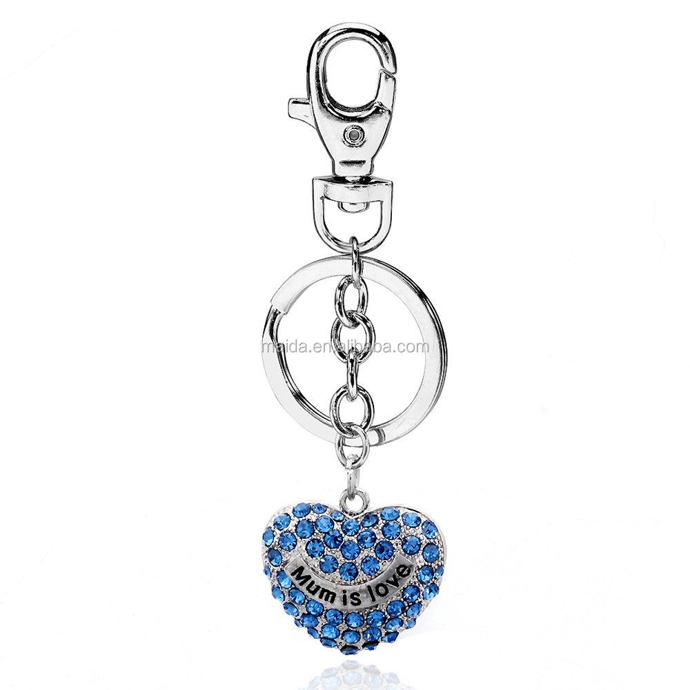 Bulk cheap mum is love heart keyring,zinc alloy mental keychain,new custom floating key chain