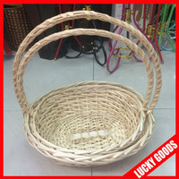 wholesale white wicker basket with handles