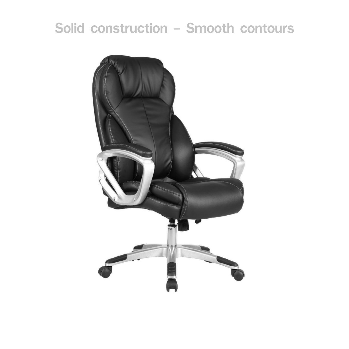 Modern Executive Office Chair High Back Design Smooth Contours Adjustable Height PU Leather Upholstery Posture Backrest Support Comfortable Armrest Heavy-duty 5 Casters Home Office Furniture #1701