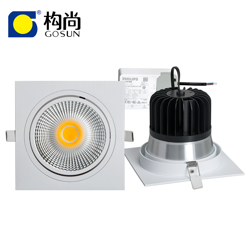 Flicker free 30W CRI80/90/97 anti-glare 5 years warranty square LED COB <strong>downlight</strong>
