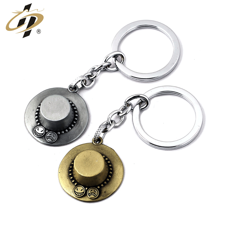 Hot sales wholesale personalized customization 3d Bronze One Piece Luffy's Hat metal keychain