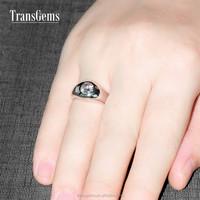 TransGems 1 Carat GH Lab Diamond Solitaire Wedding Band Solid 14K White Gold Moissanite Ring for Men