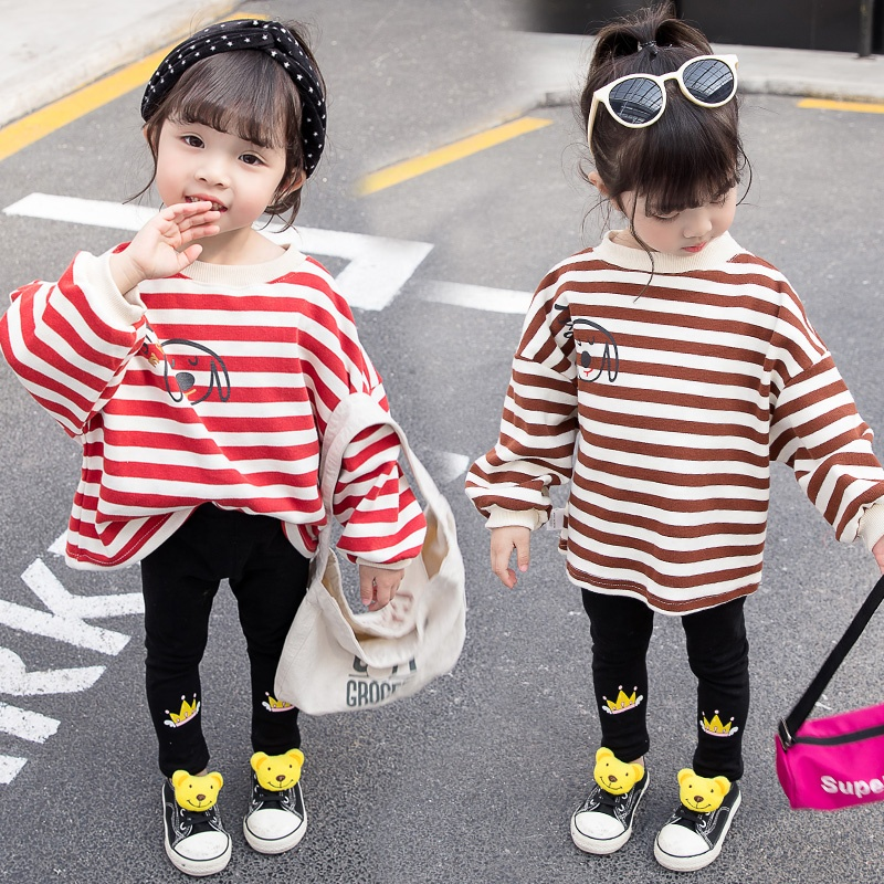 Baby Knit Cotton Striped Clothes American <strong>Design</strong> <strong>Girl</strong> T Shirts And Leggings Sets Winter Clothing For <strong>Girls</strong>