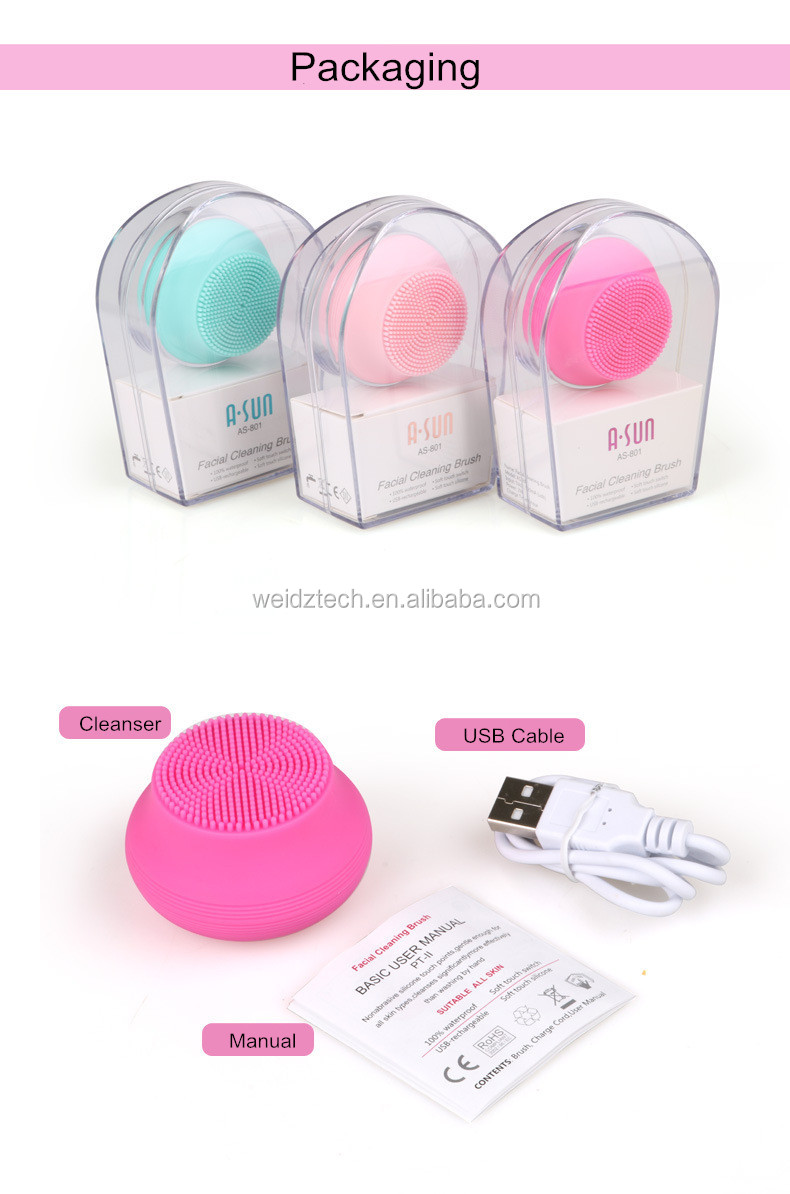 Electric Silicone Facial Cleansing Brush Exfoliating Brush Portable Facial Cleansing Brush