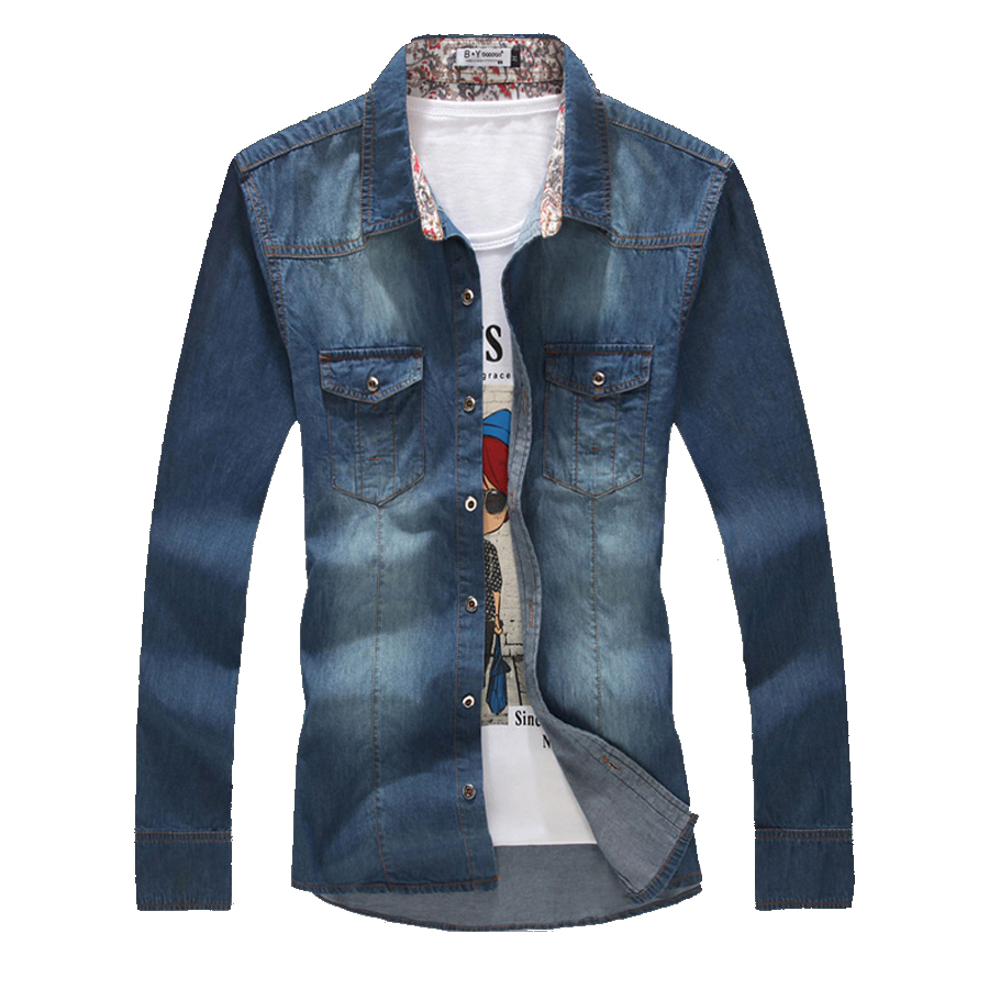 9a6770773c Get Quotations · 2015 men Denim shirts long sleeve Jeans Shirts Solid  fashion camisas hombre chemise homme slim fit