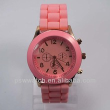 Pink &white various colors Japan quartz movt nice rubber hoops silicone watch women