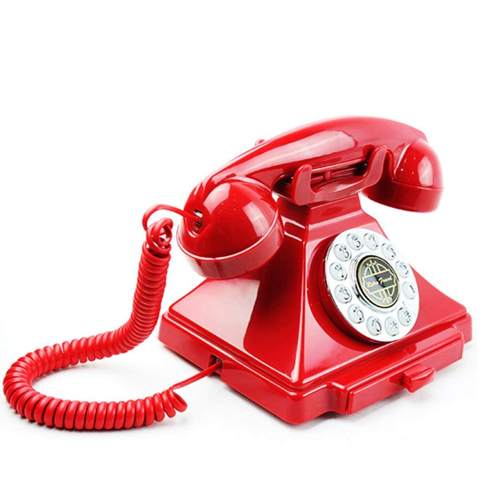 HY Phone Rope Fixed Landline Antique Phone Retro European Style Creative Home Office Hotel (Color : Red, Size : L18.5CMH16CM)